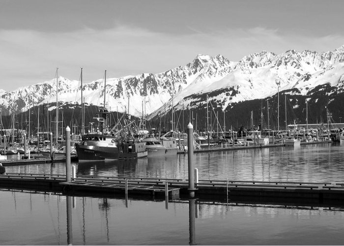 Black And White Greeting Card featuring the photograph Harbor Boats by Ty Nichols