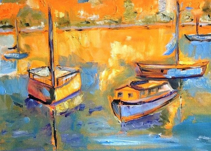 Boats In The Perth Harbor Complex. Artists Absorbing The Atmosphere. Greeting Card featuring the painting Harbor Day by Constance Paul