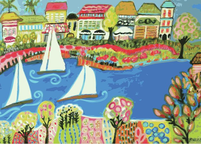 Harbor Greeting Card featuring the digital art Harbor Of Gardens by Karen Fields