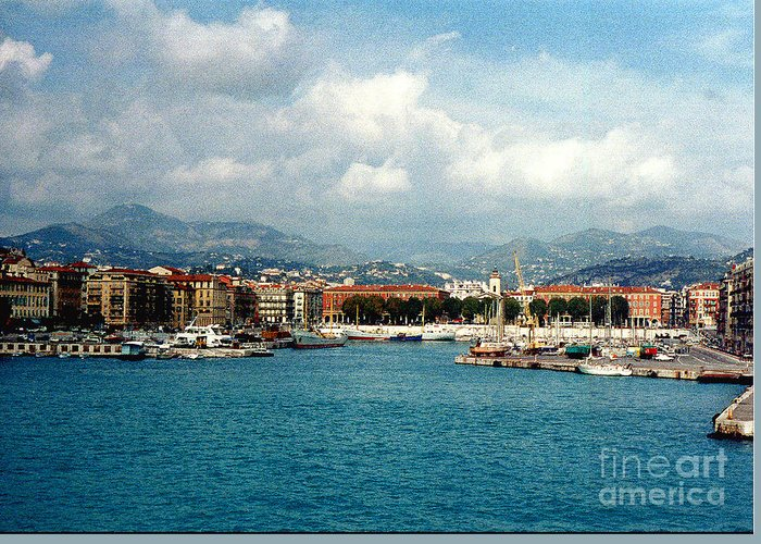 Landscape Greeting Card featuring the photograph Harbor Scene In Nice France by Nancy Mueller