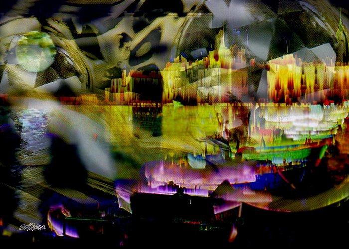 European Greeting Card featuring the digital art Harbor Scene Through A Vodka Bottle by Seth Weaver