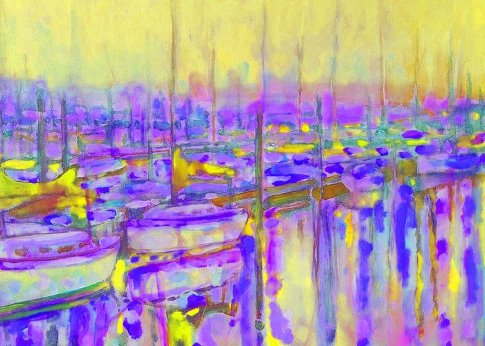 Harbor Greeting Card featuring the painting Harbor Sunrise II Seven Am by Kip Decker