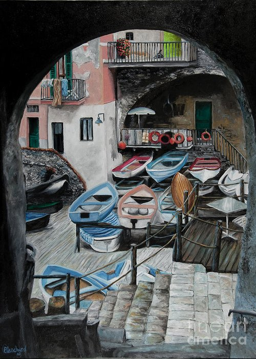 Cinque Terre Greeting Card featuring the painting Harbor's Edge In Riomaggiore by Charlotte Blanchard