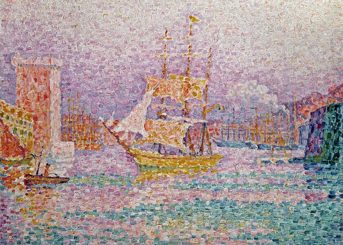 Harbour At Marseilles Greeting Card featuring the painting Harbour At Marseilles by Paul Signac