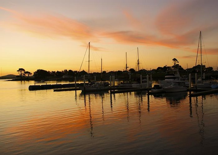 Sunset Greeting Card featuring the photograph Harbour Sun Set by Kathryn Potempski
