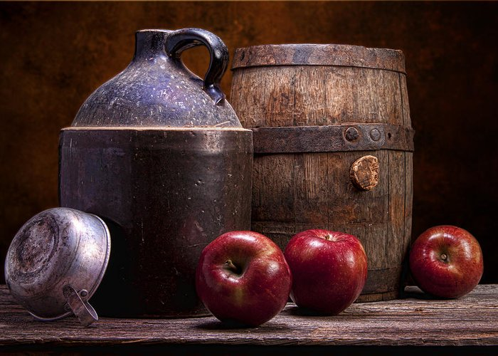 Aged Greeting Card featuring the photograph Hard Cider Still Life by Tom Mc Nemar