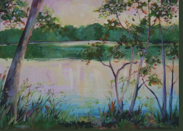 Lakes Greeting Card featuring the painting Hard Labor Creek by Ginger Concepcion