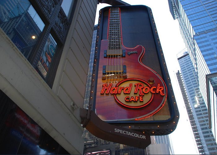 Music Greeting Card featuring the photograph Hard Rock Cafe N Y C by Rob Hans