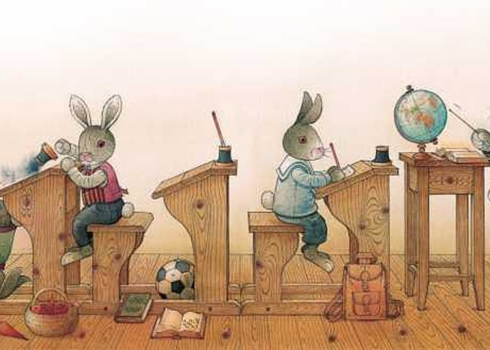Illustration From Book Strawberry Day By Kestutis Kasparavicius Greeting Card featuring the painting Hare School 01 by Kestutis Kasparavicius