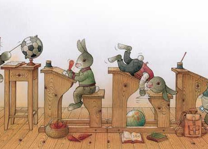 Illustration From Book Strawberry Day By Kestutis Kasparavicius Greeting Card featuring the painting Hare School 02 by Kestutis Kasparavicius
