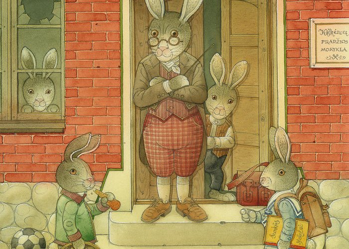 School Hare Red Teacher Greeting Card featuring the painting Hare School by Kestutis Kasparavicius