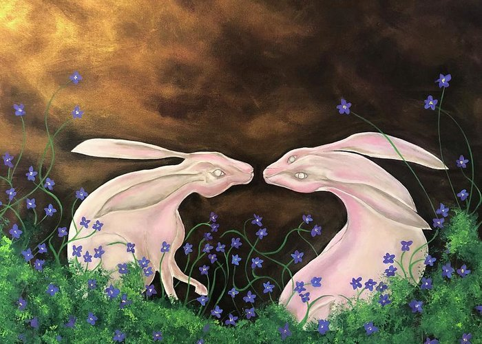 Rabbits Greeting Card featuring the painting Hares At Dawn by Ron Tango Jr
