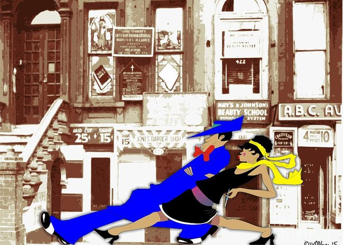 Harlem Greeting Card featuring the digital art Harlem Strut by Walter Oliver Neal