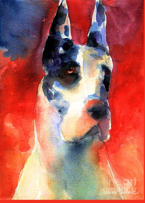 Great Dane Painting Greeting Card featuring the painting Harlequin Great Dane Watercolor Painting by Svetlana Novikova