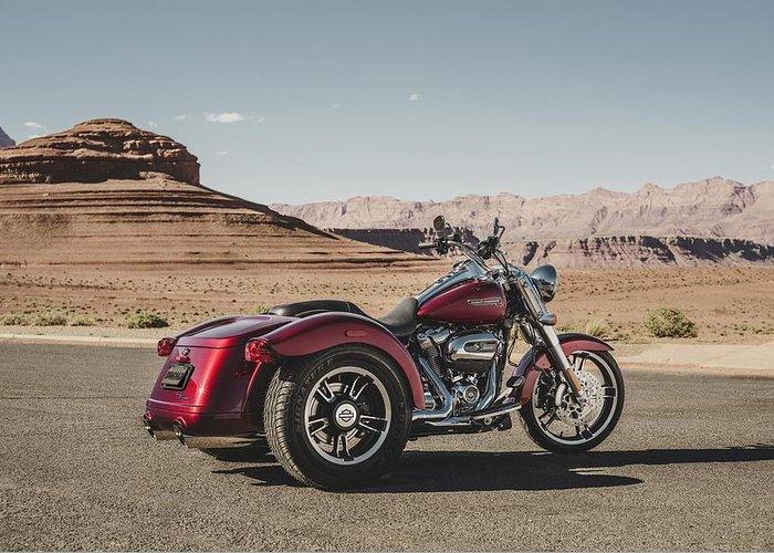 Harley-davidson Freewheeler Greeting Card featuring the digital art Harley-Davidson Freewheeler by Super Lovely