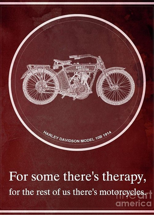 Yamaha Greeting Card featuring the painting Harley Davidson Model 10b 1914 For Some There's Therapy, For The Rest Of Us There's Motorcycles, Red by Drawspots Illustrations