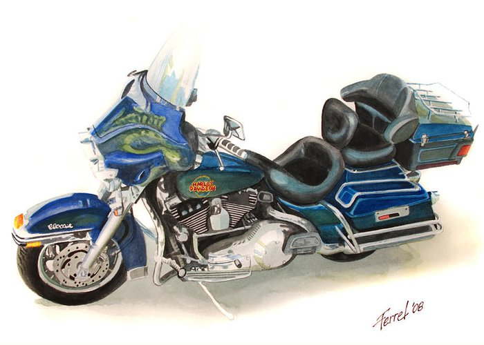 Motorcycle Greeting Card featuring the painting Harley Electraglyde by Ferrel Cordle