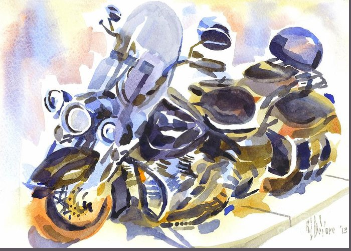 Motorcycle In Watercolor Greeting Card featuring the painting Motorcycle In Watercolor by Kip DeVore