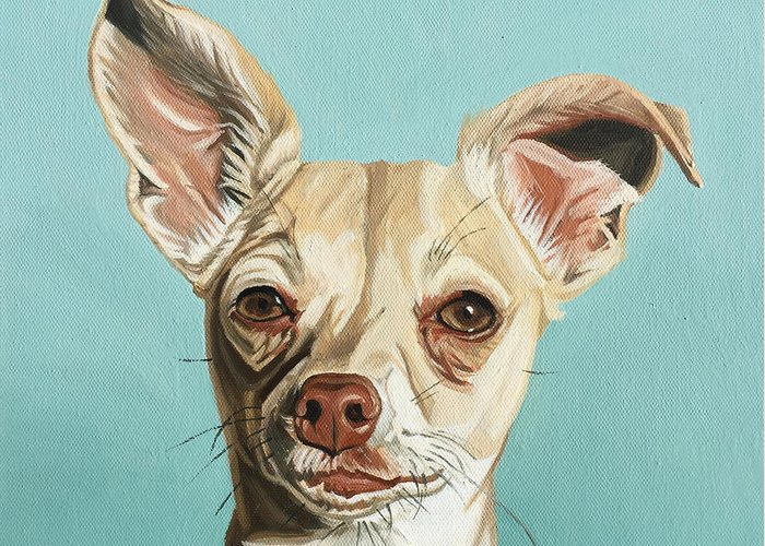 Dog Greeting Card featuring the painting Harley by Nathan Rhoads