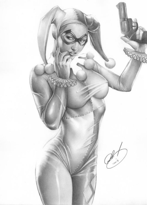 Ms Greeting Card featuring the painting Harley Quinn by Pete Tapang
