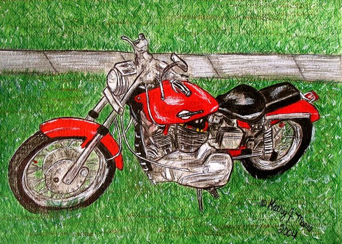 Harley Greeting Card featuring the painting Harley Red Sportster Motorcycle by Kathy Marrs Chandler