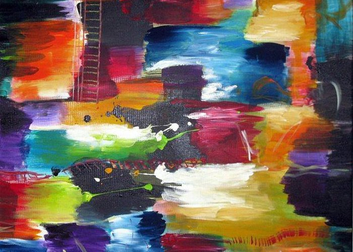 Abstract Modern Energetic Colorful Greeting Card featuring the painting Harmonious Differebce by Dan Bunea