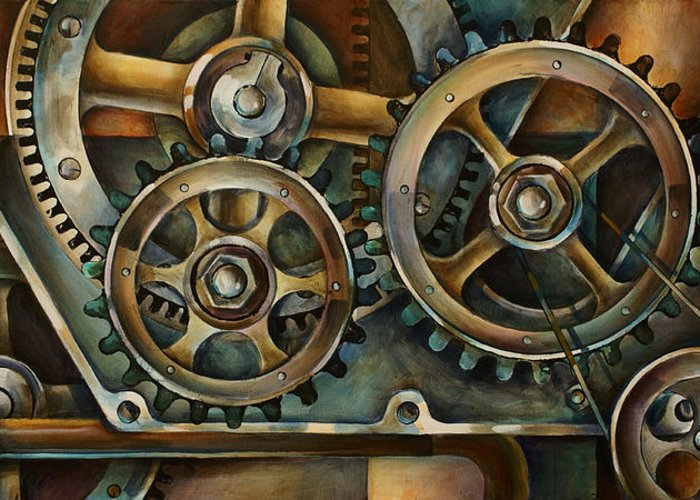 Mechanical Greeting Card featuring the painting Harmony 2 by Michael Lang