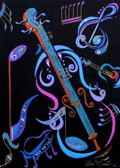 Original Art Greeting Card featuring the painting Harmony In Strings by Bill Manson