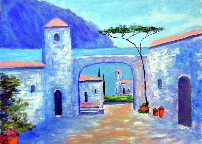 Lake Como Italy Greeting Card featuring the painting Harmony Of Como by Larry Cirigliano