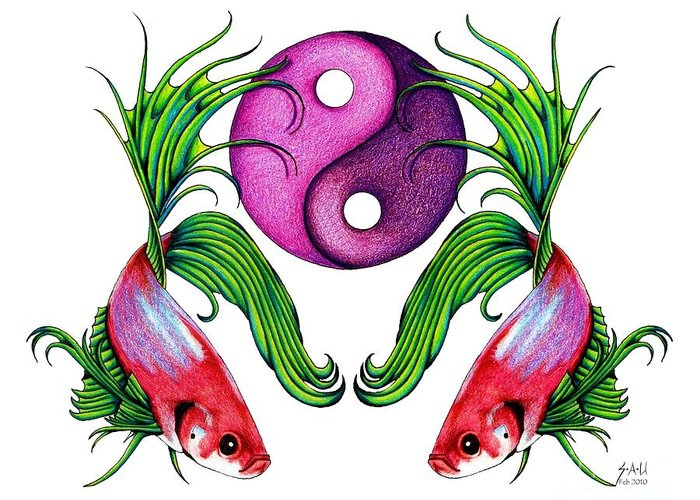 Ying Yang Greeting Card featuring the drawing Harmony Together by Sheryl Unwin