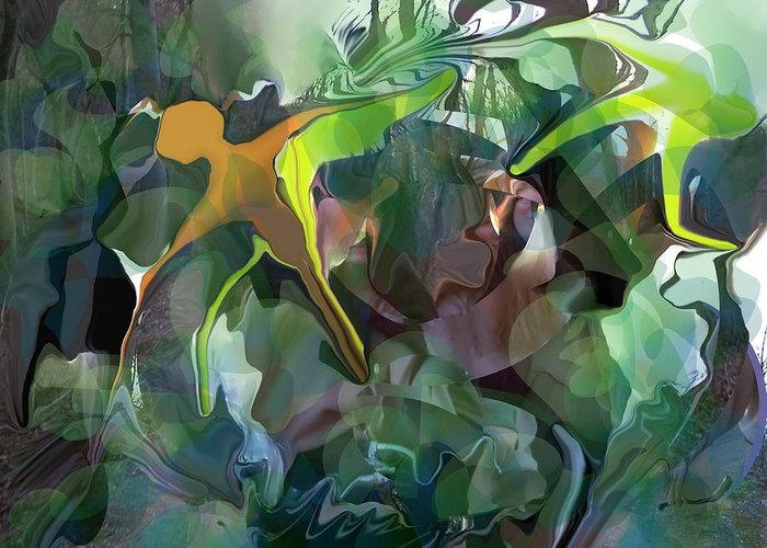 Abstract Greeting Card featuring the digital art Harper's Ferry Hiking by Peter Shor