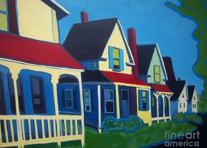Maine Greeting Card featuring the painting Harpswell Cottages by Debra Bretton Robinson