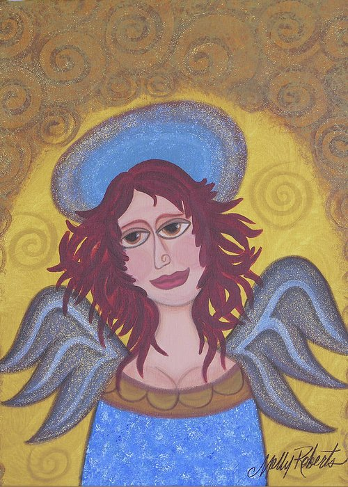 Angel Greeting Card featuring the painting Harried Harriet by Molly Roberts