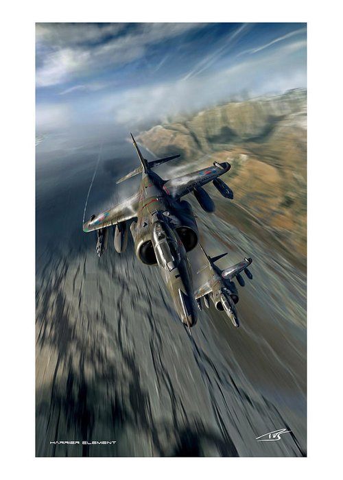War Greeting Card featuring the digital art Harrier Element by Peter Van Stigt