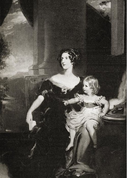 Duchess Greeting Card featuring the drawing Harriet, Duchess Of by Vintage Design Pics