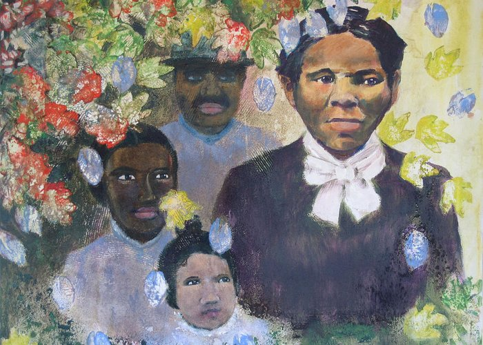 Harriet Tubman Greeting Card featuring the painting Harriet Tubman- Tears Of Joy Tears Of Sorrow by Art Nomad Sandra Hansen
