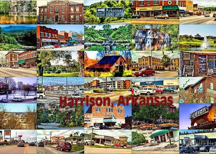 Harrison Greeting Card featuring the digital art Harrison Arkansas Collage by Kathy Tarochione