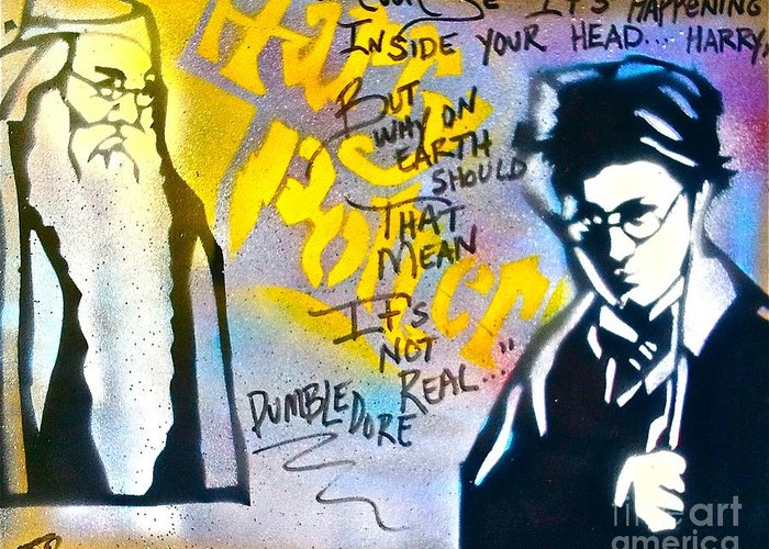 Graffiti Greeting Card featuring the painting Harry Potter With Dumbledore by Tony B Conscious