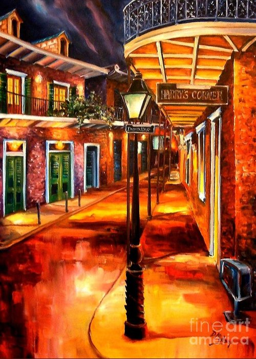 New Orleans Greeting Card featuring the painting Harrys Corner New Orleans by Diane Millsap