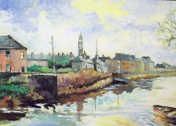 Landscape Greeting Card featuring the painting Harrys Mall -limerick-ireland by Paul Weerasekera