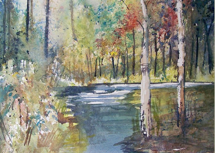 Ryan Radke Greeting Card featuring the painting Hartman Creek Birches by Ryan Radke
