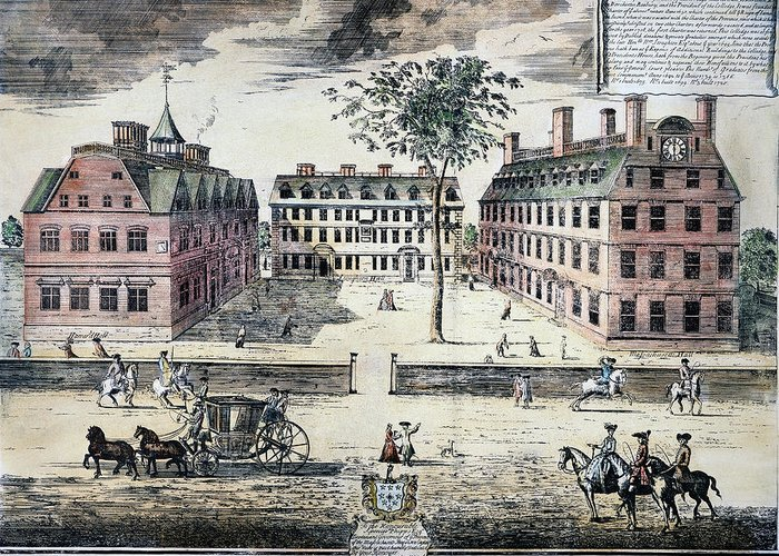 1725 Greeting Card featuring the photograph Harvard College, C1725 by Granger