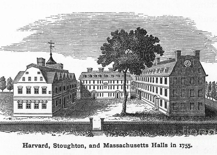 18th Century Greeting Card featuring the photograph Harvard University, 1755 by Granger