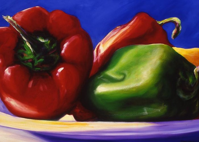 Still Life Greeting Card featuring the painting Harvest Festival Peppers by Shannon Grissom