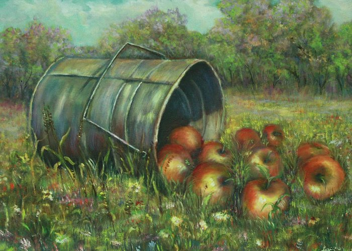 Luczay Greeting Card featuring the painting Harvest With Red Apples by Luczay