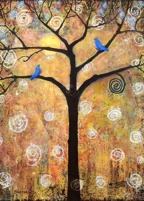 Tree Greeting Card featuring the painting Harvest Moon by Blenda Studio