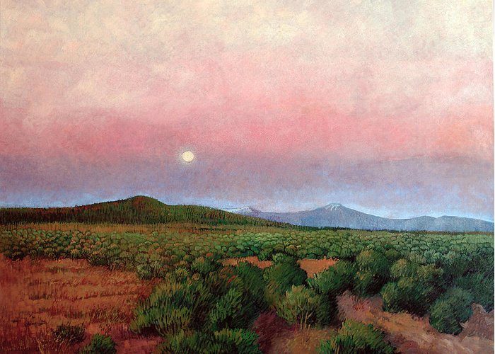 New Mexico Greeting Card featuring the painting Harvest Moon by Donna Clair