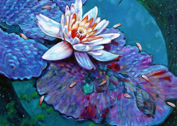 Water Lily Greeting Card featuring the painting Harvest Moon by John Lautermilch