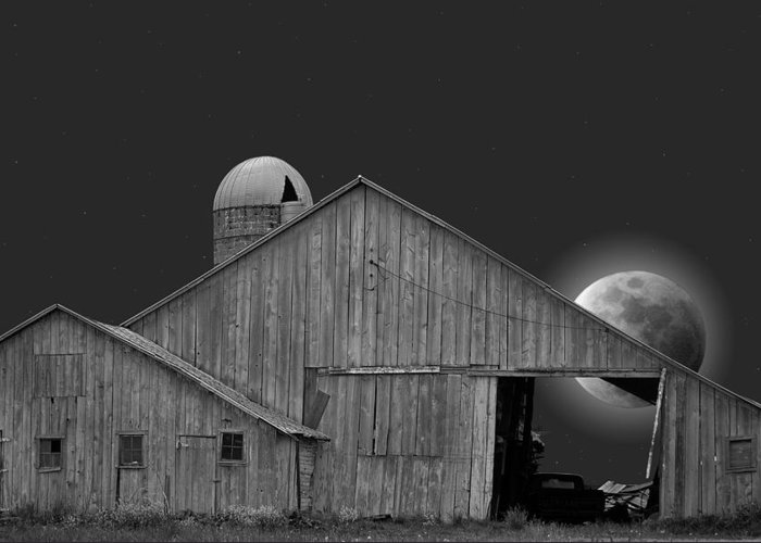 Barn Greeting Card featuring the photograph Harvest Moon by Maria Dryfhout
