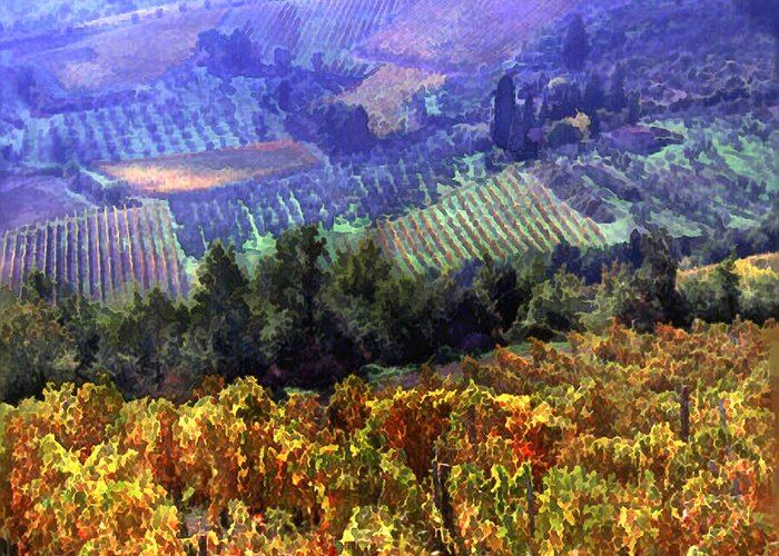 Wine Greeting Card featuring the painting Harvest Time At The Vineyard by Elaine Plesser